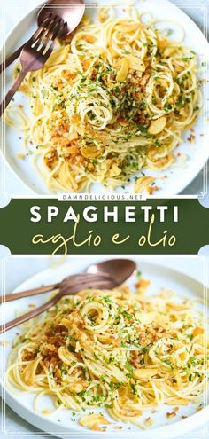 A creamy pasta dish you can enjoy any night of the week! This Spaghetti Aglio e Olio recipe will become one of your favorite comfort food. In just 30 minutes, you can have a family dinner idea packed with flavor. Such a quick and easy meal! Pasta Dinner Recipes, Dinner Recipes Easy Quick, Easy Pasta Recipes, Quick Easy Meals, Yummy Recipes, Yummy Food, Simple Recipes, Easy Dinners, Kitchens