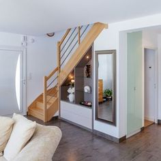 Under the basement stairs ideas staircases 43 super ideas design modern small spaces Small Space Staircase, Staircase Storage, Stair Storage, Staircase Design, Placard Design, Armoire Design, Tiny House Stairs, Basement Stairs, Basement Ideas