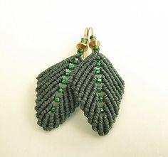Macrame Earrings Pine Green Leaf Earrings by neferknots on Etsy, $28.00