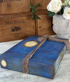 Blue Rustic Shabby Wedding Guest Book Rustic Photo album