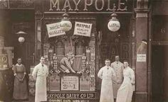 The Maypole Dairy shop in Greens End, Woolwich, London. Victorian London, Vintage London, Old London, Candid Photography, Street Photography, Nyc Coffee Shop, Dairy Co, Old Street, Vintage Pictures