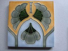 Jugendstil Fliese art nouveau tile tegel Kachel Tonindustrie Offstein