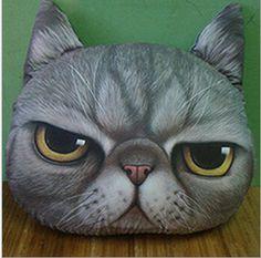 Cute Cat pillowcase  Personality Car Cushion Cover Creative Handsome Cat shape Nap pillow Cover Cute seat cushion