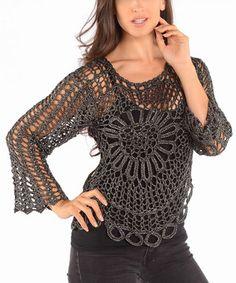 Black Open-Weave Crochet Sweater