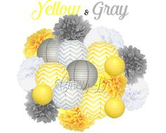 photos of gray and yellow items together | YELLOW AND GRAY Deluxe Party Decorations - Tissue Paper Pom and Paper ...