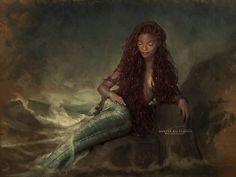 Disney princess Ariel live action film art The Little Mermaid Little Mermaid Live Action, Little Mermaid Art, Ariel Mermaid, Black Mermaid, Ariel Live Action, Disney Cast, Mermaids And Mermen, Afro Art, Merfolk