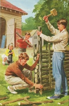 Building a log house - Peter And Jane, The Big House ..