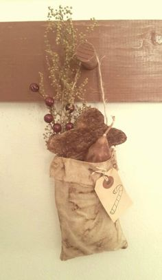 Primitive Grungy Christmas Candle Bag With by BarnDoorPrimitives, $9.99