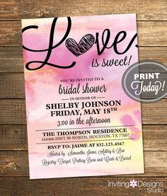Watercolor Bridal Shower Invitation, Love, Art, Pink, Purple, Yellow, Pastels, Retro, Printable File (Custom Order, INSTANT PROOF) by InvitingDesignStudio on Etsy