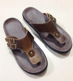 Sandal kulit pria. Kode: SL 04. warna coklat gradasi. bahan kulit sapi size…