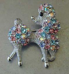 Cute Vintage Poodle Pin Brooch with Aurora Borealis Rhinestones