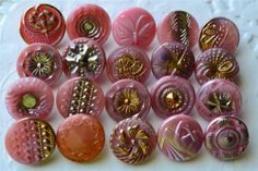 """Mix of Vintage Czech Old Glass 3 4"""" Hand Painted Pink Buttons"""