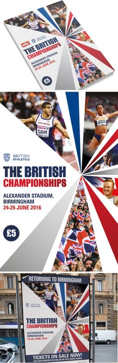 Poster and event guide for the British Athletics outdoor season. Promoting the British Championships 2016 in Birmingham, Alexander Stadium.