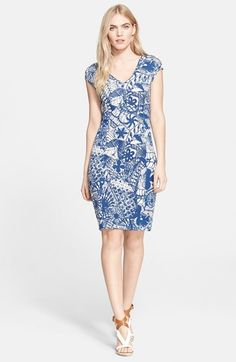 Tory Burch Print V-Neck Sheath Dress available at #Nordstrom