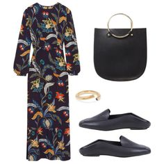 - Slip-on loafers and a structured tote are a fresh and polished pairing to a printed maxi.
