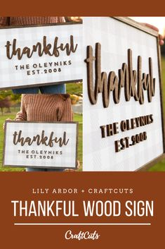 Make your own Personalized Buffalo Check Thankful Wood Sign for the holiday's with Script Wood Letters, Baltic Birch Wood Letters and a Wood Backer!