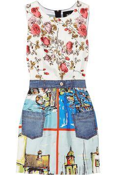 D & G|Printed silk and stretch-denim mini dress|NET-A-PORTER.COM