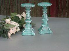 Ornate Candle Holder Pillar Ornate Distressed Chalk Paint Robins Egg Blue Turquoise $30.00