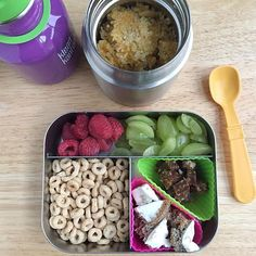 Good (my-kids-slept-until-7:30⭐️✨!) morning! Here's a look at the snacks and lunch I'm sending with our one-year-old to the sitter today: *️⃣Warm quinoa with shredded cheddar, green beans and a sprinkle of pizza seasoning for flavor. #️⃣quartered grapes, raspberries, @cheerios, leftover pancake with cream cheese, and a mini apple pie @larabar. Packed in our 8 oz @lunchbots Thermos and Trio. . . For more easy packed lunch ideas for 1 year olds, click the link in my bio or here: https://...