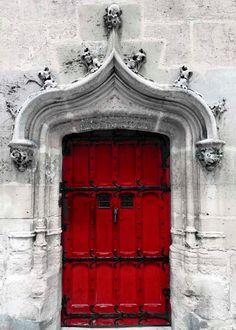 Paris porte photo print, décor de mur gris valentine, rouge, architecture Paris, Art moderne rustique, porte Vintage sur Etsy, $17.02 CAD