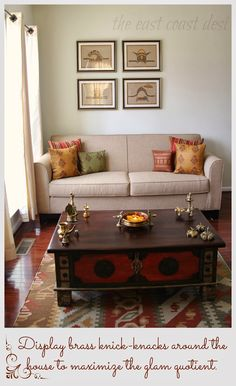 My Living Room a reflection of INDIA - Diwali Inspiration - Day 3 - Simple and elegant by the east coast desi artist. Decor, Indian Home Decor, Living Room Decor Apartment, Indian Living Rooms, Simple Living Room Decor, Drawing Room Decor, Living Decor, Art Deco Living Room, Home Decor Furniture