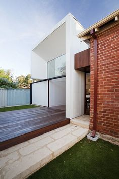 Architecture, White Addition Modern And Compact Addition For A Traditional Brick House By David Barr Architect Architecture Modern Addition Compact Structure: Modern And Compact Addition For A Traditional Brick House By David Barr Architect Modern Brick House, Brick House Designs, Brick Design, Modern Houses, Metal Cladding, Exterior Cladding, House Cladding, Wall Cladding, Red Brick Exteriors