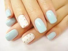 DIY nail art design, blue, gold dots #nailart