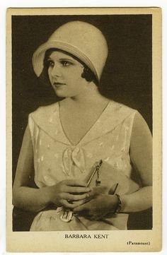 1920's Movie star BARBARA KENT pretty Flapper rotogravure photo postcard