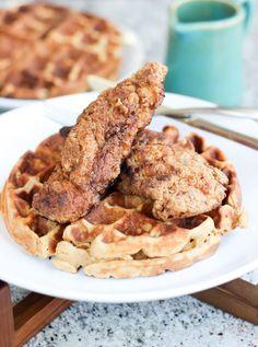 Paleo Fried Chicken and Sweet Potato Waffles | http://www.wickedspatula.com #paleo