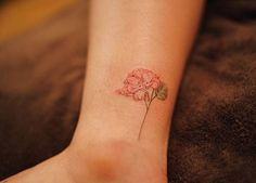 Red Hydrangea Tattoo on Ankle by Nando Tattoo