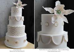white gold wedding cake pearls elegant
