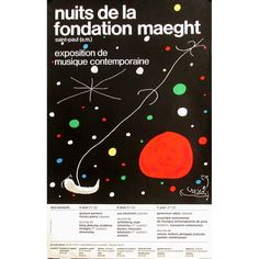Nuits de la fondation Maeght poster by Miro Joan. Lithography from ca Parisposters only offers original vintage posters. Joan Miro, Prado, Famous Abstract Artists, Art Exhibition Posters, Original Vintage, Japanese Graphic Design, Design Poster, Spanish Artists, Unique Words