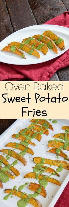 Sweet Potato Fries with Chimichurri Sauce - give your sweet potato fries a kick with this easy, healthy chimichurri sauce! Vegan, low fat, gluten free!