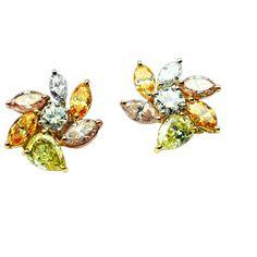 Fancy Colored Marquise Diamond Earrings #jbirnbach