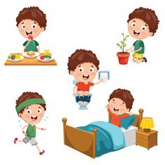 Kids Daily Routine Vector Images (over Daily Routine Activities, Activities For Kids, Ancient Egypt Activities, Illustration Plate, Teach English To Kids, Teacher Classroom Decorations, African American Babies, Kids Schedule, Girl Sleeping