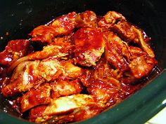 Crock Pot Recipe:  Boneless Country-Style Ribs  3 lbs. boneless pork country-style ribs  1 large onion, thinly sliced  3 cloves garlic, minced  1/3 cup brown sugar  salt and pepper  3/4 cup apple juice  1 1/2 cups barbecue sauce    put all, but bbq sauce in crockpot. cook low 7 hrs. remove pork/onions. throw out remainder liquid. put pork/onions back in crock with bbq sauce. cook high 1 hr.