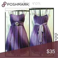 RUBY ROX Purple Ombre' Dress Embellished with sparkles on an ombre' background, this is a fabulous party dress for any occasion. Junior medium. Spaghetti straps. Above the knee. Ties in the back. I have added a brooch to the waist, which I have included. I thought it added a nice touch! ?? Ruby Rox Dresses Mini