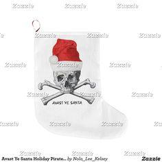 Avast Ye Santa Holiday Pirate Skull Stocking Large Christmas Stocking