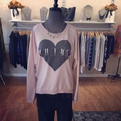 JAX Look of the Day! We are always a fan of being comfortable and cute at the same time. It doesn't get much better than this super soft Vintage Love sweatshirt from Chaser! We added a cute vintage style rhinestone necklace to dress it up! #jaxboutique #jaxhaddonfield #lookoftheday #chaser