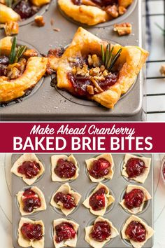 These EASY Baked Brie Bites are the ultimate make-ahead holiday appetizer and will wow your guests! Made with puff pastry Brie cheese cranberry and pecans. Everyone loves this easy recipe! Try them with raspberry jam apricot pepper jelly or a mix! Puff Pastry Appetizers, Puff Pastry Recipes, Baked Brie Puff Pastry, Baked Brie With Jam, Baked Brie Appetizer, Brie Bites, Brie Cheese Recipes, Appetizer Recipes, Baked Brie Recipes