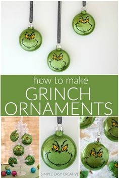 Grinch Ornaments :: Make your own Grinch Christmas Ornaments or give them as gifts! Grinch Ornaments :: Make your own Grinch Christmas Ornaments or give them as gifts! Grinch Christmas Decorations, Grinch Ornaments, Grinch Christmas Party, Christmas Ornament Crafts, Noel Christmas, Christmas Crafts, Grinch Trees, Grinch Party, Lightbulb Ornaments