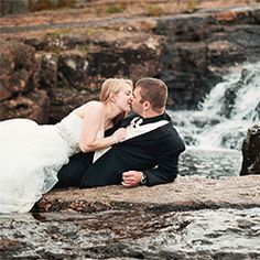 Stunning ball gown meets rocky river, a beautiful day after the wedding trash the dress session.