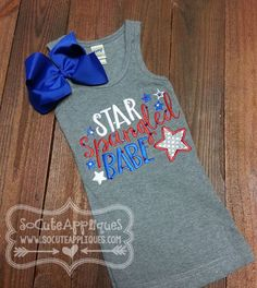Embroidery design 5x7 6x10 Star Spangled Babe by SoCuteAppliques