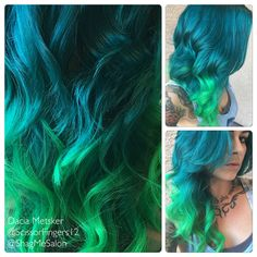 Turquoise to neon green ombré done by Dacia Metsker