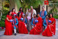 Colorful indian bridal party shot | Image courtesy of Global Photography. Discover more Indian Bridal Party inspiration at www.shaadibelles.com #weddings #southasian #shaadibelles #bridesmaids #groomsmens