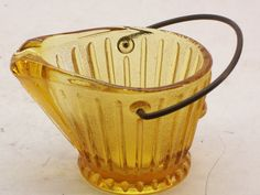 Continental Can Co. Amber Glass Coal Bucket Ashtray Marked CCC , $12.99