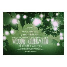 string of lights rustic green wedding invitation