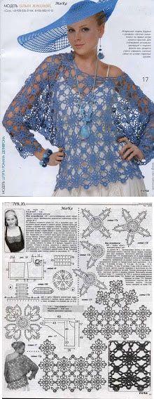 crochet moda azul