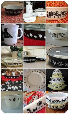 Black & white Pyrex collection