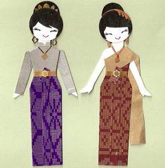 THAI ORIENTAL GIRL PAPER DOLL CARD TOPPER SET OF by kirakirahoshi